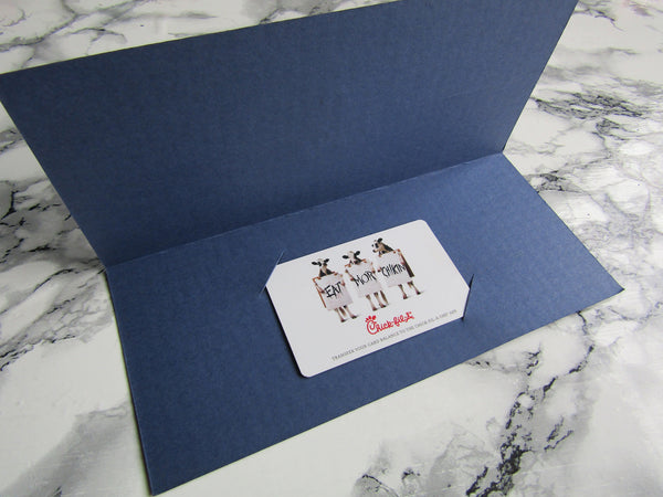 Letterpress gift navy blue card holders by Nancy Reed Design and printed by inviting in Austin Texas.