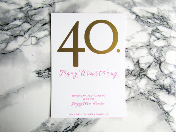 Letterpress birthday invitation in gold and hot pink with edge painting by inviting in Austin Texas