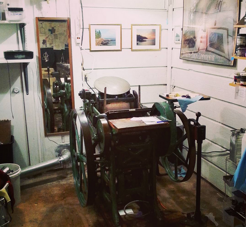 Inviting's letterpress, Vera, in the south Austin studio.