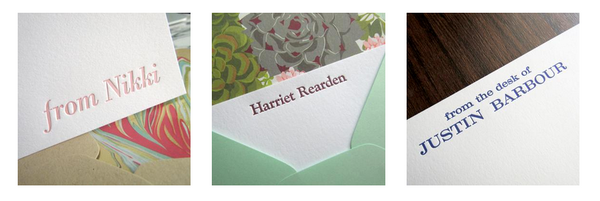 Personalized stationery options, letterpress printed using metal type, by inviting in Austin Texas.