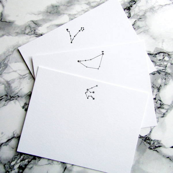 Letterpress constellation stationery cards in black ink by inviting from austin tx.