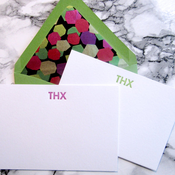 THX letterpress stationery in purple and lime, by inviting in Austin Texas