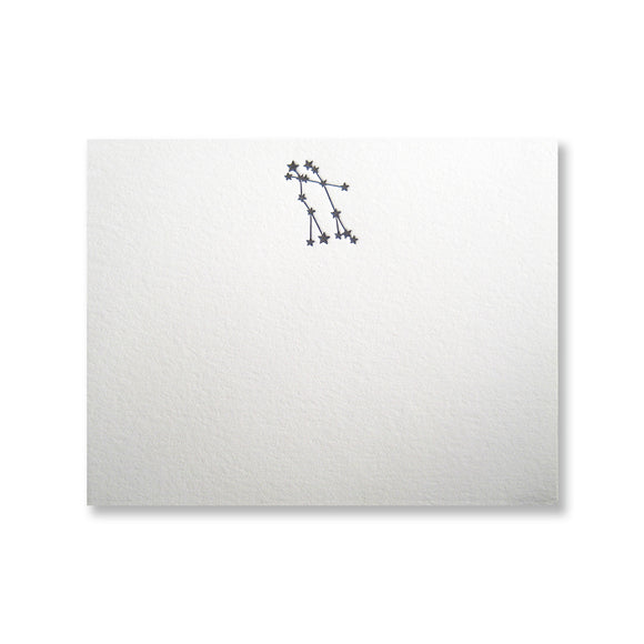 Letterpress constellation Gemini stationery, in black ink, by inviting INV1121.