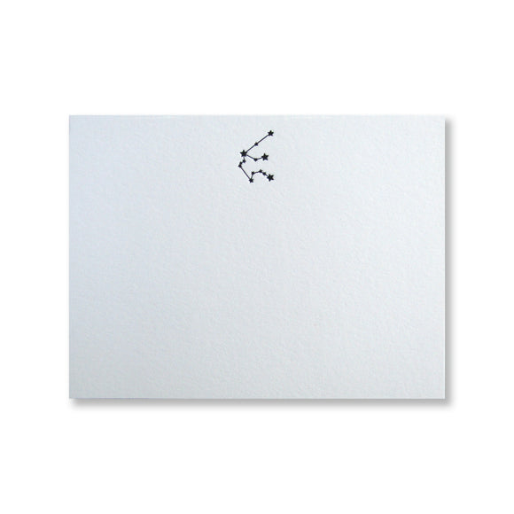 Letterpress Aquarius zodiac constellation stationery (flat card) in black in by inviting in austin, texas.