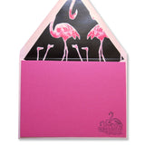 Flamingo letterpress stationery on dark pink paper by inviting letterpress boutique in austin texas.