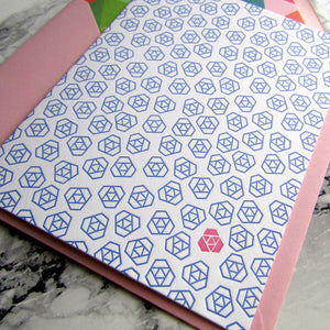 Letterpress floral notecards, geometric pattern in blue and pink with lined pink envelopes, by inviting letterpress in austin texas.