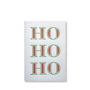 Letterpress Ho Ho Ho HOHOHO holiday card, red and green, by inviting in austin texas.