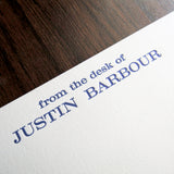 "Professional letterpressed personal stationery, ""from the desk of"" shown in blue ink on white cotton cards, by inviting letterpress in austin texas."