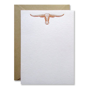UT Longhorn Letterpress Stationery in burnt orange, available pre-printed or custom! Printed by inviting in austin, texas.