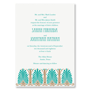 Letterpress art deco letterpress wedding invitations, patterns, shown in teal and taupe, by inviting letterpress in austin, texas.