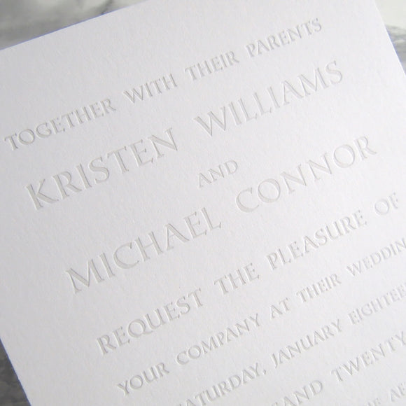 Letterpress Wedding Invitation of engraved text for a simple and masculine look, by inviting in austin texas.