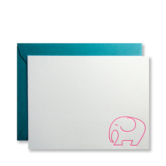 Letterpress pink elephant stationery, shown in neon pink on white cards, by inviting letterpress in austin texas.