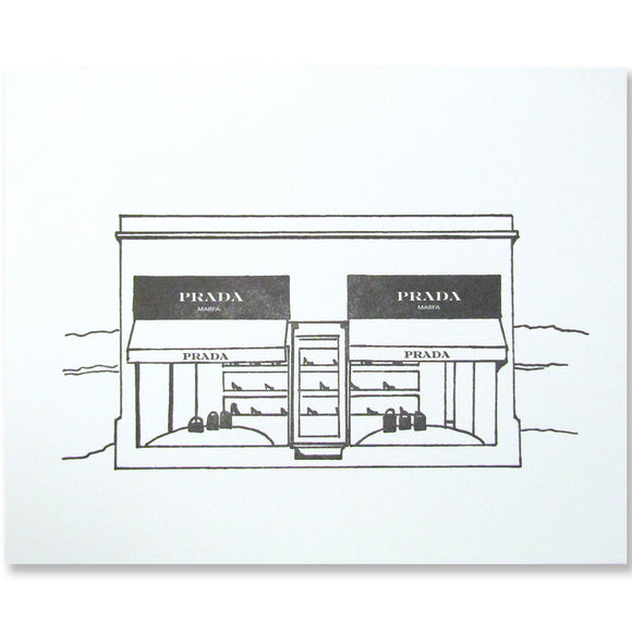 Prada Marfa letterpress print, black and white illustration by inviting in austin texas.