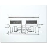 Marfa letterpress print, black and white illustration by inviting in austin texas.
