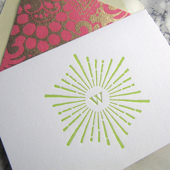 Sunburst Initial Note Cards (S)