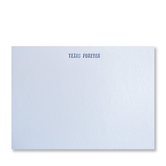 Texas Forever letterpress stationery, shown in blue ink with handset type, made by inviting in austin, texas.