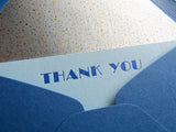 Letterpress blue thank you stationery, blue envelopes, broadway font, by inviting letterpress boutique in austin texas.