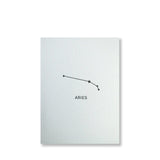 Letterpress aries constellation note card, zodiac constellation in black ink by inviting letterpress in austin texas.