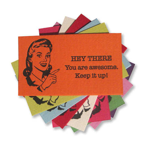 "Letterpress ""You are awesome"" cards to hand out, by inviting 