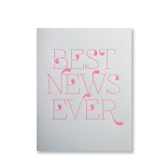 Letterpress congratulations card that reads
