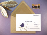 Letterpress wedding reply cards, purple love birds on a branch, designed & printed by inviting | shopinviting in Austin Texas