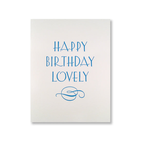 Letterpress birthday card reads