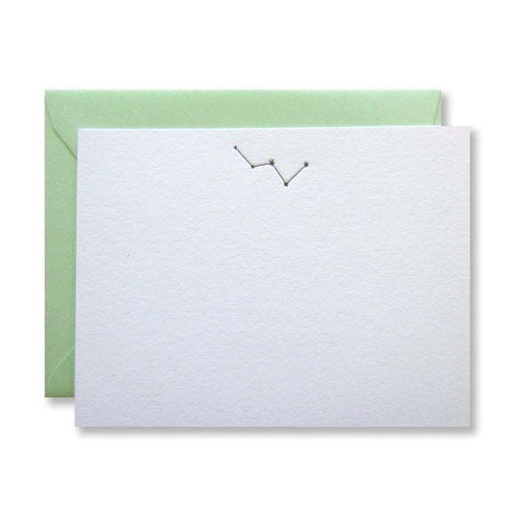 Letterpress Cassiopeia constellation stationery (flat card) in black in by inviting in austin, texas.