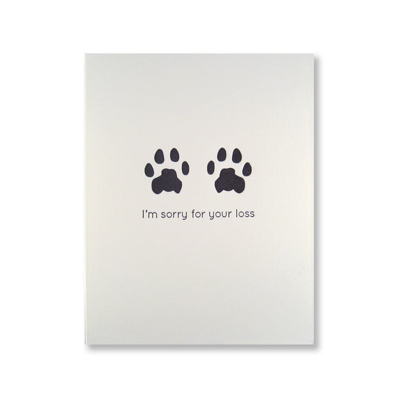 Letterpress pet sympathy card of cat paw prints and