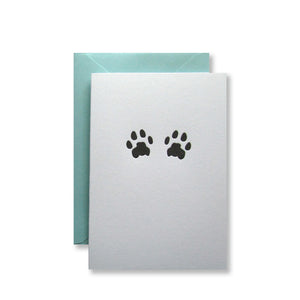 Letterpress cat paws folded note cards in black ink by inviting letterpress in austin texas.