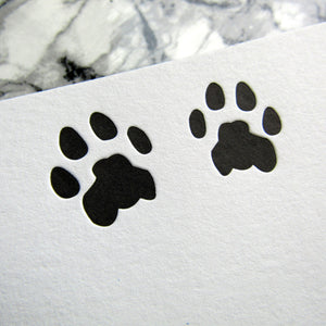 Letterpress cat paw stationery in black ink by inviting letterpress in austin texas.