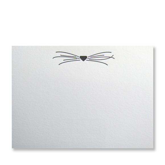 Letterpress cat stationery, cat whiskers letterpress printed in black ink by inviting in austin, texas