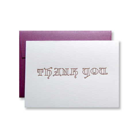 Letterpress thank you card, in whimsical type and copper ink, by inviting in Austin, TX.