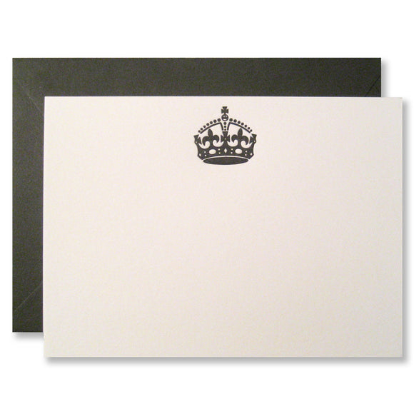 Vintage crown stationery, letterpress printed cards, by inviting INV0146