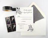 Letterpress reply card shown with lined envelopes. Sophia damask design, made in Austin Texas.