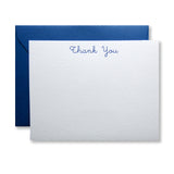 Letterpress thank you card, in cursive type and blue ink, by inviting in Austin, TX.