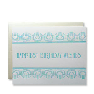 "Letterpress art deco birthday cards that read ""Happiest Birthday Wishes"" in aqua ink with champagne envelopes, by inviting in Austin, Texas."
