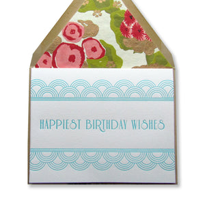 "Letterpress art deco birthday cards that read ""Happiest Birthday Wishes"" in aqua ink with lined paper bag envelopes, by inviting in Austin, Texas."