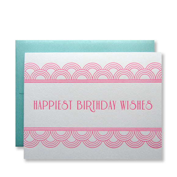Letterpress art deco birthday cards that read