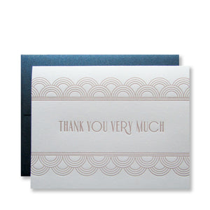Letterpress art deco thank you cards in copper ink with shimmer night blue envelopes, by inviting in Austin, Texas.
