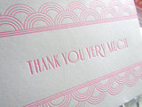 Letterpress art deco thank you cards in hot pink ink with lined light green envelopes, by inviting in Austin, Texas.