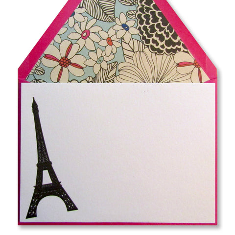 Letterpress Eiffel Tower leaning stationery with pink envelopes, by inviting in austin texas.