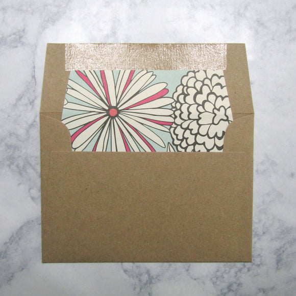 Drawn Florals Liners & Lined Envelopes