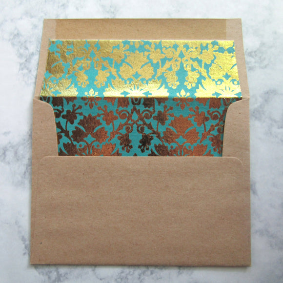 Gold Damask Lined Envelopes