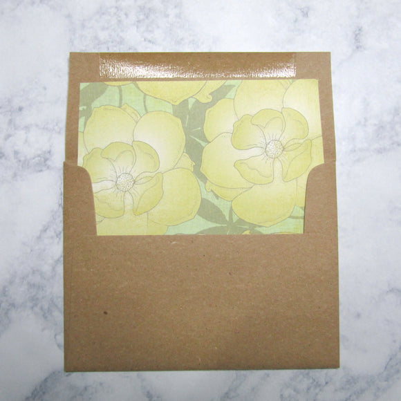 Yellow Flower Liners & Lined Envelopes