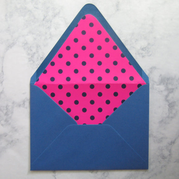 Navy Dotted Liners & Lined Envelopes {More Colors Available}