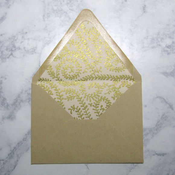 Gold Ivy Lined Envelopes
