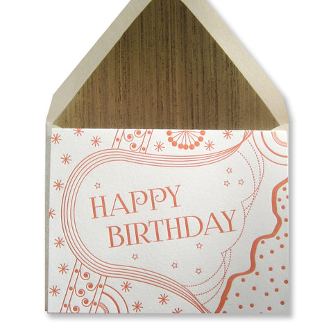 Letterpress birthday card by inviting, in orange, INV1081.