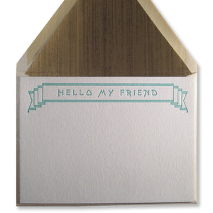 "Letterpress stationery with banner and ""Hello My Friend"" in teal, INV1071, by inviting."