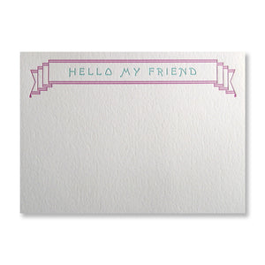 Letterpress stationery in purple and teal, Hello My Friend, flat cards with banner by inviting, INV1071