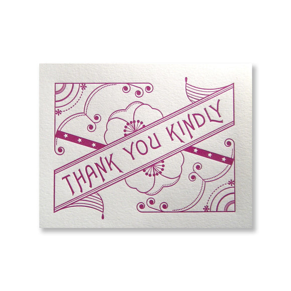 Letterpress thank you kindly cards, purple ink, INV1073, by inviting.